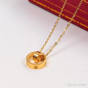 2020 colar de cor carter AMOR dupla Círculo Pingente Rose Gold Silver para Collar Mulheres Vintage Bijuteria com set caixa original