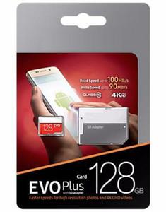 2019a 블랙 EVO 플러스 + C10 64gb 128gb 256gb 메모리 카드 TF 메모리 카드 무료 소매 블리스 터 패키지 카메라 pc 전화에 대 한