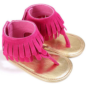 Bebé recém-nascido menina Verão Sandália Tassel sapatos macios Sole Prewalker 0-18M