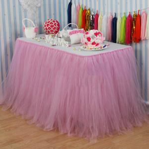 Eco-Friendly 100 cm x 80 centimetri Light Pink tulle Tutu Tabella gonne da tavola per la festa di nozze Baby Shower di compleanno di natale Reception Table Decor