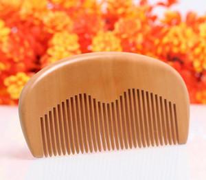 Natural Peach Wooden Comb Beard Comb Pocket Comb 11.5*5.5*1cm free shipping
