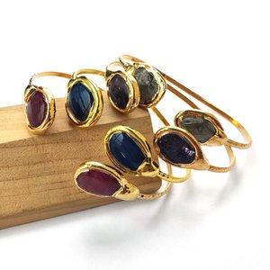 Cor do ouro Natural assorted Gem stone Pulseiras Ajustáveis, Druzy Quartz Pedra Cuff Bangle Jóias BG286