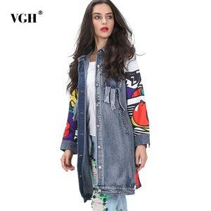 VGH empalme imprimir abrigo mujer manga larga solapa cuello bolsillos borla abrigos de invierno 2019 moda nueva marea