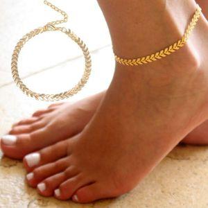 Женщины просто Punk Золото Серебро Boho Женщины Босиком Стрелка голеностопного цепи ножной браслет Foot Jewelry Сандал-Бич