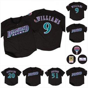 9 Matt Williams 1999 Arizona 20 Luis Gonzalez 51 Randy Johnson Black Baseball Jerseys Todos Stitched