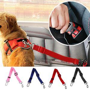 Regolabile Sedile Pet Dog Safety Belt nylon animali Cucciolo Seduta del guinzaglio del cane del cablaggio della cintura di sicurezza del veicolo Pet Supplies 13colors Viaggi clip JXW539