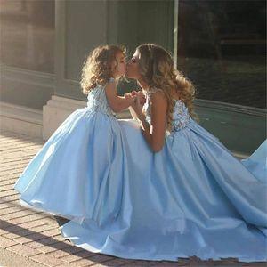 Sweety Sky Blue 2020 الكرة ثوب الفتيات فساتين مهرجان الأكمام اللؤلؤ الدانتيل زين تول منتفخ غورجو وصمة عار مخصص زهرة الفتيات مهرجان