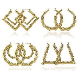 Роскошные ювелирные изделия несколько форм этнические большие старинные позолоченные бамбуковые серьги обруча для женщин 12 режимов свободный выбор fasion jewellery