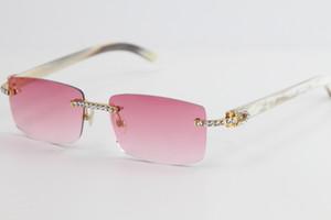 Big White Buffalo Pierres Rimless Lunettes de soleil Corne 8200757 Mode Haute Qualité Lunettes de soleil meilleures lunettes de soleil pour conduire hommes et femmes
