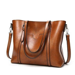 SND Women bag Oil wax Women's Leather Handbags Lady Hand Bags With Purse Pocket Women messenger bag Big Tote Sac Bols