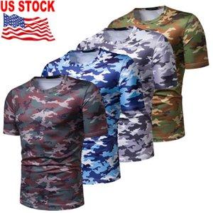 2019 à manches courtes Casual Mode Hommes Slim T-shirt de sport T-shirts Hauts de camouflage militaire