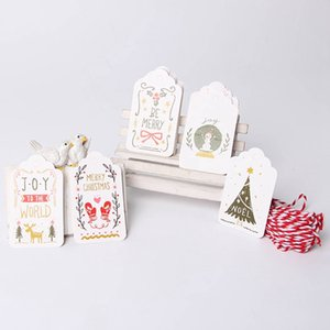 50pcs lot Merry Christmas DIY Unique Gift Holly Tags Jolly Tag Small Card Optional String DIY Craft Label Party Decor With Rope