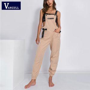 Vangull épaules Jumpsuit femmes Long Jumpsuit 2020 New Mode Printemps Automne barboteuses Femme Bracelet Tenues Streetwear