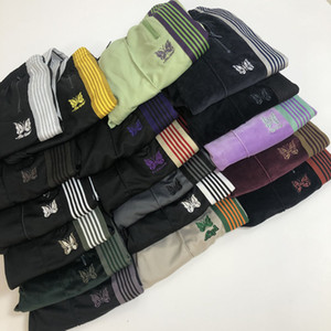 17 Renkler Erkek Tasarımcı Pantolon İğneler Kelebek Nakış Kadife Pantolon Rocky Yan Stripes Breasted Retro Casual Pantolon Moda Sweatpants