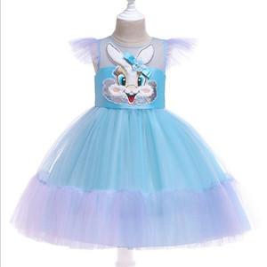 Vieeoease Girls Dress Rabbit Kids Clothing 2019 Autumn Fashion Fly Sleeve Lace Flower Princess Dress CC-506