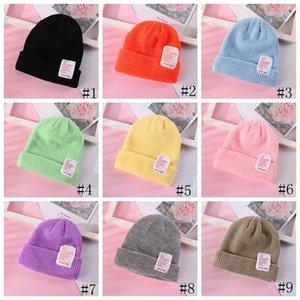 Ins Tricoté Caps Solid Large Enfants d'hiver Bonnet lettrés skullies Bonnets Femmes Hommes Chapeaux de laine Party Hip-Hop Casual Hat 13colors GGA2747