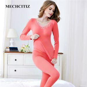MECHCITIZ 2019 Nouvelles Femmes Chaud Thermique Sous-Vêtements Femme Coton Longue Johns Manches Longues Thermique Vêtements Sous-vêtements Homewea Ensembles