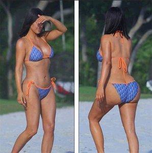 Letras de tres puntos traje de baño para mujeres de alta calidad de verano de dos piezas bikini conjunto Trajes Moda Playa de los bañadores del traje de baño Ropa