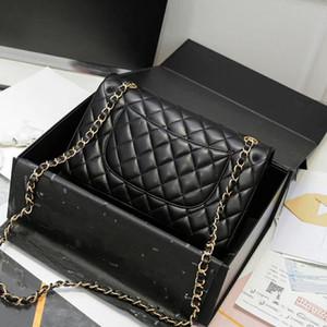 Calidad superior de piel de cordero Negro colgajo clásico de la cadena bolsas de las mujeres del bolso de hombro femenino de Crossbody del Marca de lujo bolsos monederos 5A diseñador