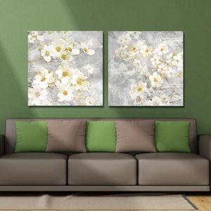 DYC 10059 2PCS White Flowers Print Art Ready to Hang Paintings 000