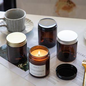 Großhandel 100ml 250ml braune Glasflasche Kerze Glas Aromatherapie großer Mund braun Kerzenbecher leere Flasche DIY hausgemachte Flasche