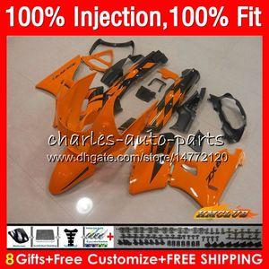 chaud orange injection pour KAWASAKI ZZR400 ZZR400 99 00 01 02 03 04 05 06 07 85HC155 ZZR 400 1999 2000 2001 2002 2003 2004 2005 2007 Carénage