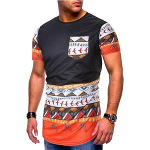 Mulit Imprimir Mens Designer de manga curta T-shirts Moda Irregular Hem Painéis Mens Tees Designer machos roupa