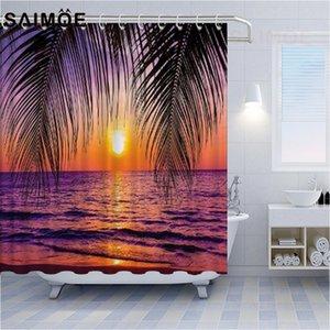 Océano paisaje Plato de ducha Sunset gaviota del árbol de coco Baño Baño Baño Cortina naranja cielo y el mar azul cortina de agua a prueba de agua