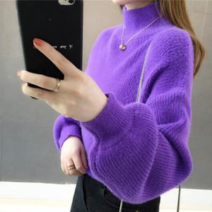 Женщины Chic Fashion Soft Touch фонариков рукавом вязать свитер мохер Перемычки пуловер 2019 Новые поступления