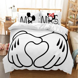 Karikatür Mick Mini Yatak Seti Güzel Çift Kraliçe King Size Yatak Seti Çocuk Nevresim Yastık Kılıfı
