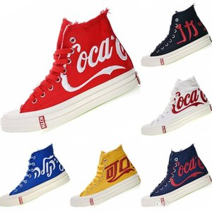 KITH Coca 1970s Cola Three Party Consortium High Top Canvas Sneakers 1970s Coca KITH Cola Crystal Rubber Training Shoes 35-44