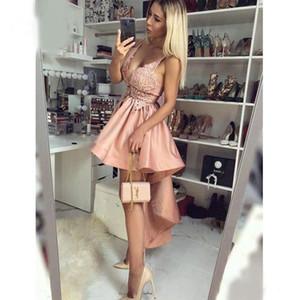 Lo nuevo de alta vestidos de baile Low V Rosa cuello corto cooktail vestidos de tirantes de espagueti Vestidos de Fiesta
