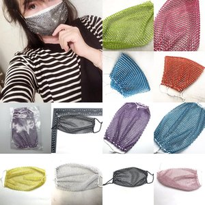 Fishnet Plastic Rhinestone Party Masks 13 Color Washable Personality Party Mask Decoration Party Supplies Individual Package XD23655