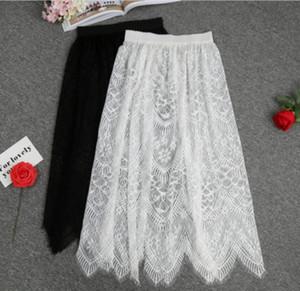 Frauen Blumenspitze Petticoat Hohle Underskirt Schwarz / Weiß Slips Halb Beleg Underskirt Lange Unterkleid-Sommer-Kleid CZL8408