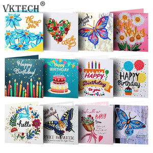 12pcs Diamond Painting Greeting Card Special Shape Diamond Embroidery Birthday Cards Thanksgiving Cards Cross Stitch Craft
