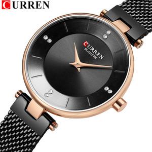 Classic Black Ladies Watches With Rhinestone Women's Fashion Steel Mesh Watch CURREN Female Wristwatch Dress Quartz Clock Gift