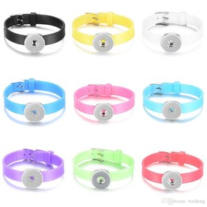 10pcs pack Noosa Jewelry Candy Color Silicone Bracelet 20cm Fit 18mm Snap Buttons DIY Snap Jewelry for Child NN-713