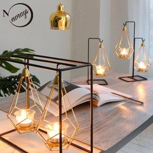 Novedad nórdicos soportes para velas de metal de oro velas simples 6 estilos modernos para vacaciones dormitorio salón restaurante solana T200108