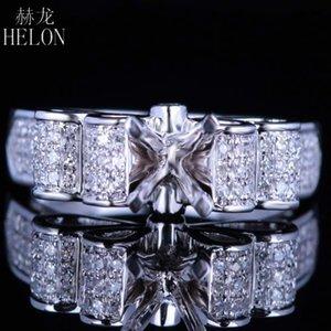 Hélon 5.5-6.5mm Ronda de plata de ley 925 Pave genuino diamantes naturales joyería semi monte compromiso de la boda del anillo de joyería fina