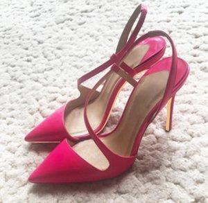новые сандалии Лакированная кожа S-бандаж Женская обувь на высоком каблуке Cusp Тонкий каблук Одиночные туфли 10см Big code 44 банкетное платье с красной подошвой