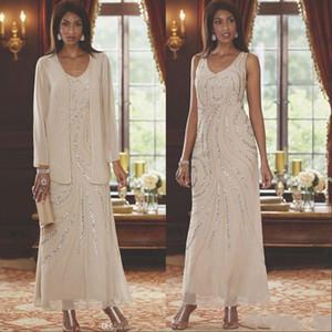 Gelin Modelleri ile Uzun Kollu Ceket Of Şık V Yaka Anneler Elbiseler 2020 İki adet Boncuklu Wedding Guest Ayak bileği Boyu Anne