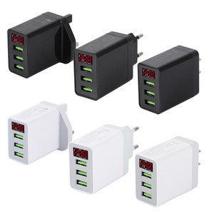 5V 3.1A LED display 3 USB ports wall Charger EU US UK plug Fast charger charging For mobile cell phone