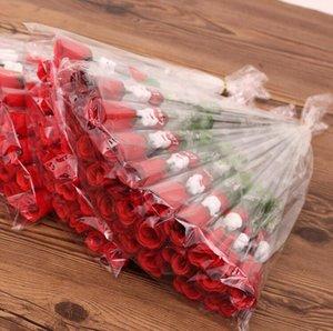 Simulation Red Rose Une seule rose Fleur Cartoon ours avec un coeur en forme autocollant Saint Valentin Fête des Mères Cadeau de mariage Supplie LXL371