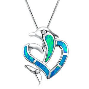 Bonito Feminino 925 Colar De Corrente De Prata Esterlina Presente Do Dia Dos Namorados Azul Fire Opal Dolphin Coração Pingente Colares Para As Mulheres
