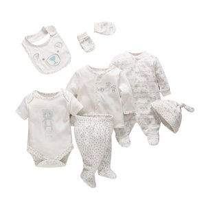 7 Pçs / set Tender Bebês Bebê Recém-nascido Da Menina do Menino Roupas de Algodão Macio Dos Desenhos Animados Do Bebê Crianças Roupas Set Roupas Infantis Confortáveis J190521