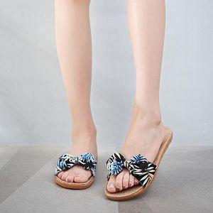 Eillysevens femmes Lin pantoufles D'été Casual diapositives Plage Chaussures Dames intérieur Lin pantoufles Bohême Floral arc Flip Flops @ g2