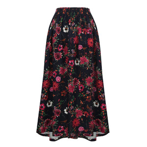 Romacci falda larga floral de la vendimia de impresión elástico de la cintura de la falda de Boho maxi bolsillo una línea casual para mujer faldas plisadas Jupe Femme 2018
