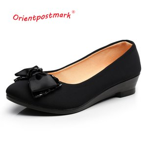 Ballet Women for Office Work Oversize Boat Cloth Sweet Loafers Women's Pregnant Wedges Shoes Y200702