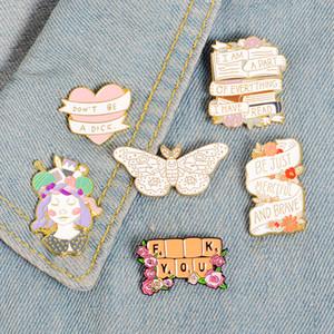 Handcraft Girl Banner Smalto Pin Badge Tastiera Spilla a farfalla Borsa Camicia in jeans Spilla bavero Regalo romantico con gioielli floreali