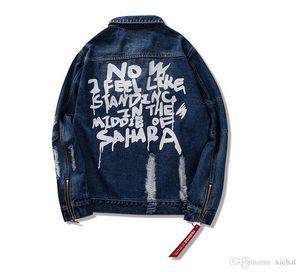 Хип-Хоп Проблемные Рваные Джинсовые Куртки Мужские Хип-Хоп Печатные Джинсовые Куртки Мужская Мода Лента Джинсовые Пальто Уличная Одежда Черный Синий